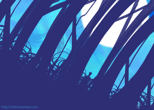 deep in a moonlit forest, amidst the silhouettes of tree trunks and bramble, a lone figure watches you.